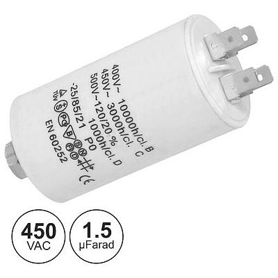 Condensador Arranque 1.5uF 450V + TERRA