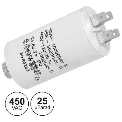 Condensador Arranque 25uF 450V + Terra