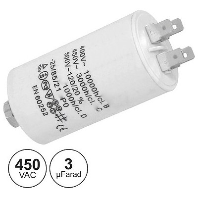 Condensador Arranque 3uF 450V + Terra