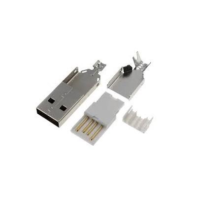 Ficha USB A Macho p/ Soldar s/Capa
