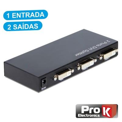 Distribuidor DVI-I Amplificado 1 Entrada 2 Saídas