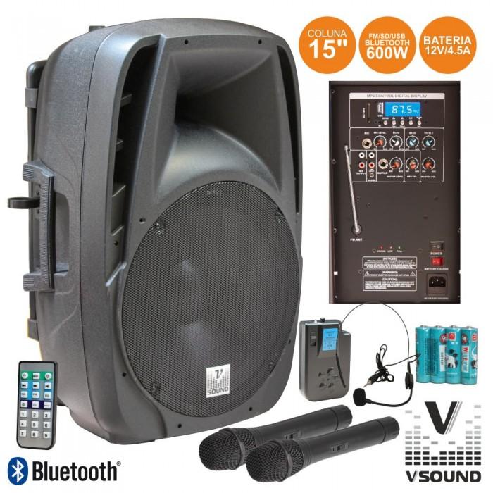 """Coluna Amplif. 15"""" 600W USB/BT/SD/FM/BAT"""