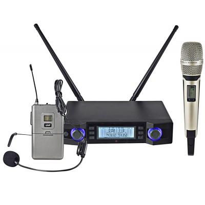 Microfone Mão s/ Fios+Cabeça+Emissor+Receptor UHF