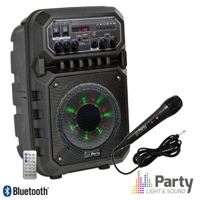 """Coluna Ampli. 6"""" 200W USB/FM/BT/SD/Bat Preta"""