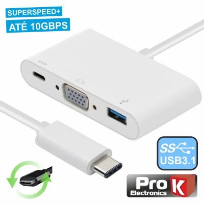 Adapt. USB-C / VGA+ USB-A + Micro USB-C 3.0