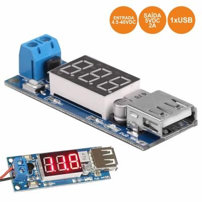 Carreg. USB C/ Indicador 4.5-40vdc P/ 5vdc 2A
