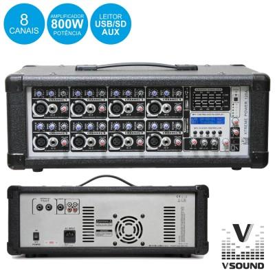 Amplificador 8 Canais Prof. 800W Máx. Vsound