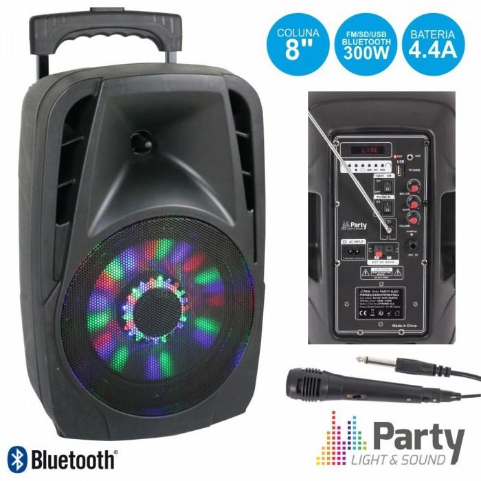 """Coluna Activa 8"""" 300W USB/FM/BT/SD/BAT VHF"""